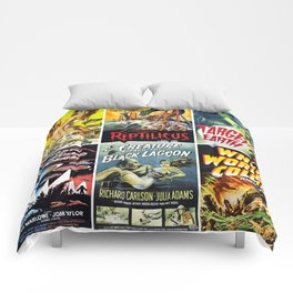 50s Sci-Fi Movie Poster Collage #1 Comforters