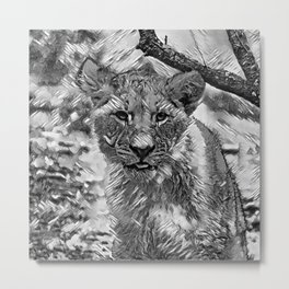 AnimalArtBW_Lion_20171204_by_JAMColors Metal Print
