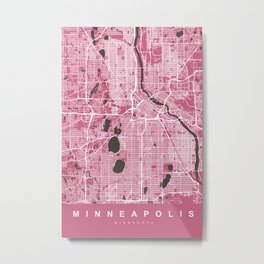 MINNEAPOLIS City Map | Minnesota US | Pink | More Colors, Review My Collections Metal Print