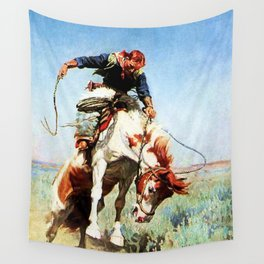 """Bronco Rider"" Western Art by W Herbert Dunton Wall Tapestry"
