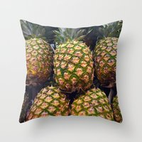 pineapples Throw Pillows featuring Pineapples by UMe Images