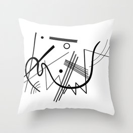 Kandinsky - Black and White Abstract Art Throw Pillow