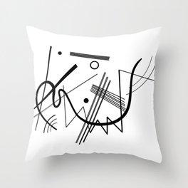 Kandinsky - Black and White Abstract Art Throw Pillow