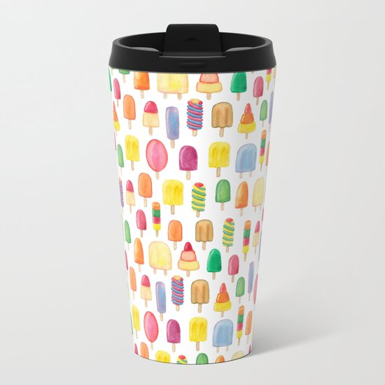 Ice Lolly, Popsicle, Ice Cream, Print.  Metal Travel Mug