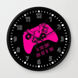 Video Game Pink on Black Wall Clock