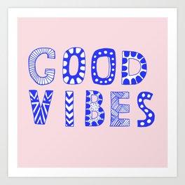 Good vibes pastel typography Art Print