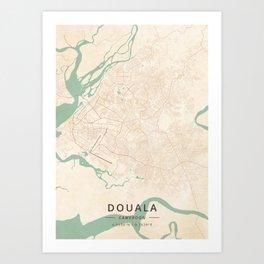 Douala, Cameroon - Vintage Map Art Print