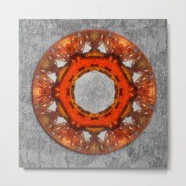 Butterfly wings mandala against bark texture Metal Print