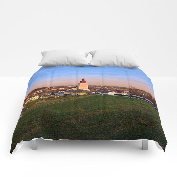 Village and church in warm sundown light II | landscape photography Comforters