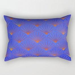 Deep blue, Asian Fan Pattern,art deco, pattern,vintage,1920 era, chic,elegant,Gatsby.modern,trendy Rectangular Pillow