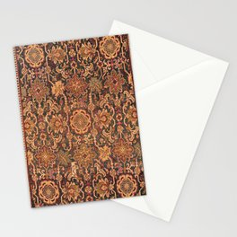 Floral Medallion III // 18th Century Colorful Blue Lime Green Pink Sapphire Plum Burlap Tan Patter Stationery Cards