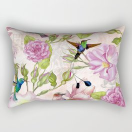 Vintage Roses and Hummingbird Pattern Rectangular Pillow