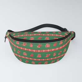 Christmas Bells and Gifts Pattern Fanny Pack