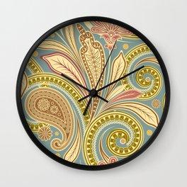 Boho Paisley and Floral Pattern Wall Clock
