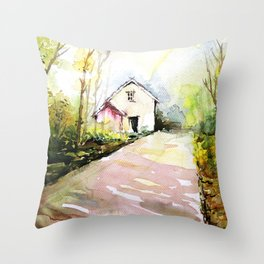 Beautiful Cottage Garden Painting Throw Pillow