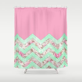Girly Mint Green Pink Floral Block Chevron Pattern Shower Curtain