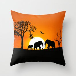 Elephant silhouettes at sunset Throw Pillow