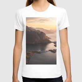 Sunrise and Mountains, Lofoten Islands Norway.  T-shirt