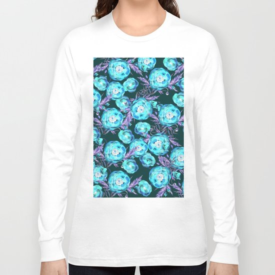 Abstract Poppy Pattern Blue And Black Long Sleeve T-shirt