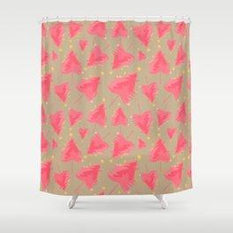 Pink Christmas Tree Shower Curtain