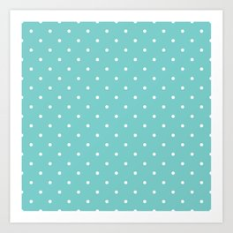Small White Polka Dots with Aqua Background Art Print