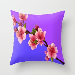 PINK-RED MODERN  CHERRY FLOWERS  purple-grey ART Throw Pillow