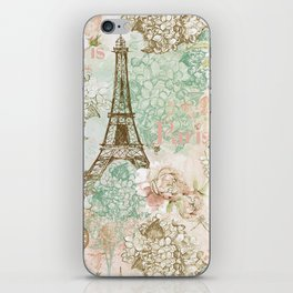 I love Paris - Vintage Shabby Chic - Eiffeltower France Flowers Floral iPhone Skin