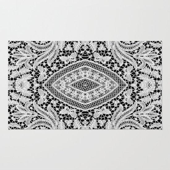 Floral Damask Area Rug: Elegant Black White Floral Lace Damask Pattern Rug By