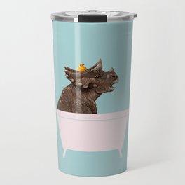 Playful Triceratop in Bathtub Travel Mug