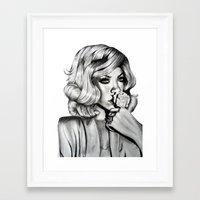 rihanna Framed Art Prints featuring Rihanna by Ellie Wilson Designs