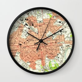 Vintage Map of Lancaster Pennsylvania (1956) 2 Wall Clock