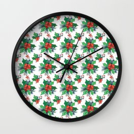 Green red orange Christmas sweet candy holy floral Wall Clock