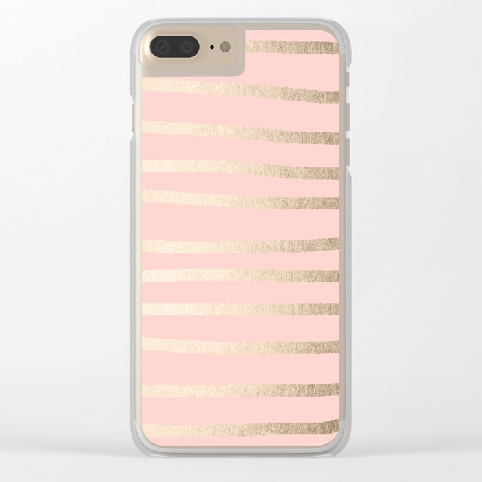 Abstract Drawn Stripes Gold Coral Light Pink Clear iPhone Case
