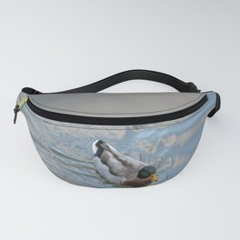 Mallard duck swimming in a turquoise lake 1 Fanny Pack