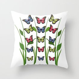 Group of blue, red and green monarch butterflies Throw Pillow