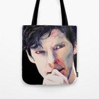 cumberbatch Tote Bags featuring Benedict Cumberbatch by Hash