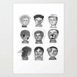 Crazy Heads Art Print