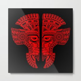 Red and Black Aztec Twins Mask Illusion Metal Print