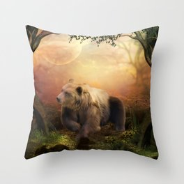 Awesome bear in the night Throw Pillow