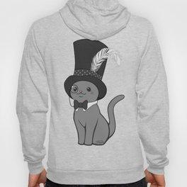Grey Cat Wears Plumed Top Hat Hoody