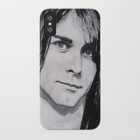 kurt cobain iPhone & iPod Cases featuring Cobain Kurt Portrait. by Dioptri Art