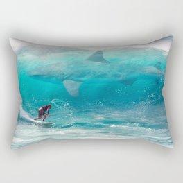 Surfing with a Giant Shark Rectangular Pillow