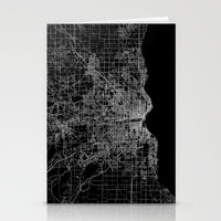 milwaukee Stationery Cards featuring milwaukee map by Line Line Lines