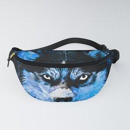 husky dog face splatter watercolor blue Fanny Pack