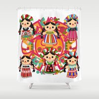 mexican Shower Curtains featuring Mexican Dolls by Alapapaju