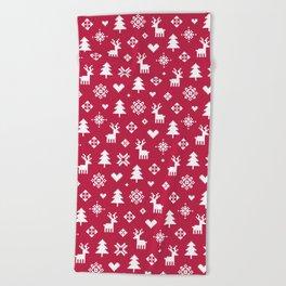PIXEL PATTERN - WINTER FOREST RED Beach Towel