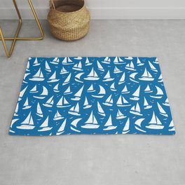 Cool Sailing Boats Pattern on Sea Blue Rug