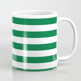 Stripes (Dark Green & White Pattern) Coffee Mug