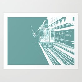 Teal Brown Line Art Print