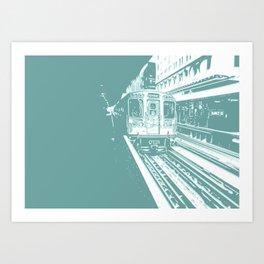 Teal Brown Line Art Print